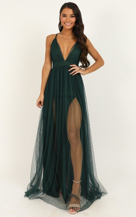 Like A Vision Dress In Emerald Mesh