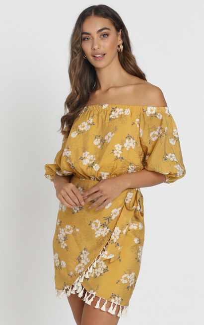 Ettie Bardot Dress in mustard floral - 6 (XS), Mustard, hi-res image number null