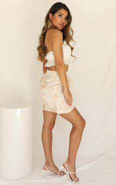 Just Walk Away Skirt In Mocha Floral