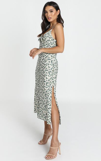 Dara Tie Front Midi Dress in green floral - 12 (L), Green, hi-res image number null