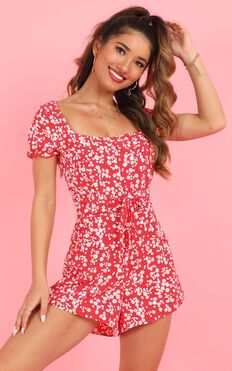 Eye Candy Playsuit In Red Floral