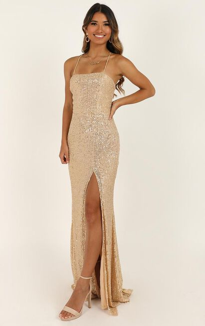 Magic Hour Maxi Dress In Gold Sequin - 14 (XL), Gold, hi-res image number null