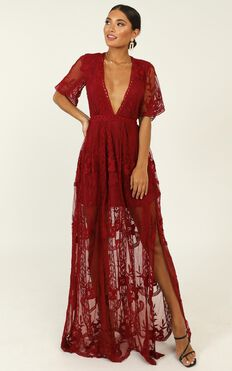 Love Spell Maxi Dress In Wine Lace