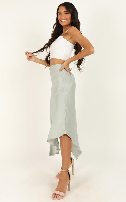 Know Your Boundaries skirt in mint satin - 14 (XL), Green, hi-res image number null