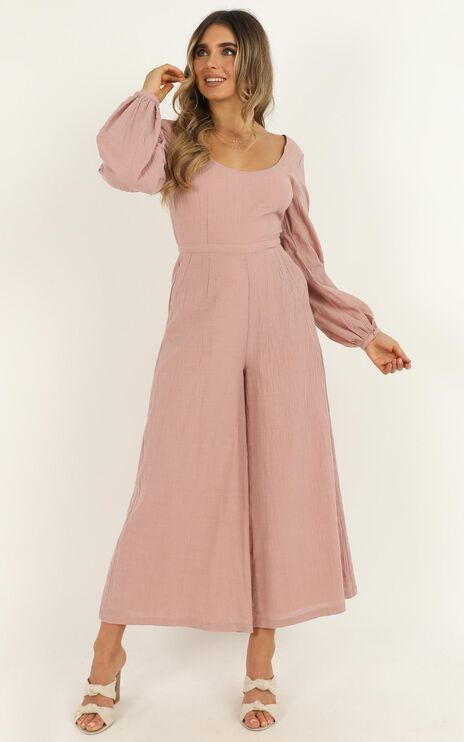 Living Well Jumpsuit In Dusty Blush