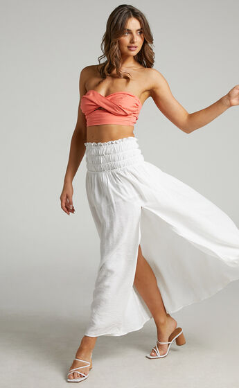 Everlene Ruched Maxi Skirt in White