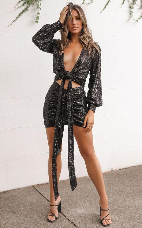 Lioness - Diamonds In The Sky Skirt In Black Sequin