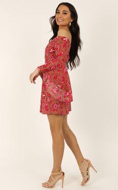 Break My Heart Dress In Pink Print