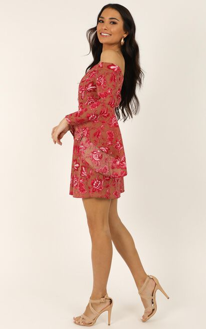 Break My Heart Dress in pink print - 14 (XL), Pink, hi-res image number null