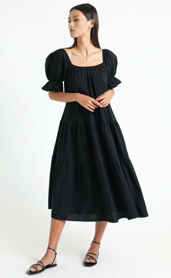 Zaharrah Tiered Midi Dress in Black Linen Look