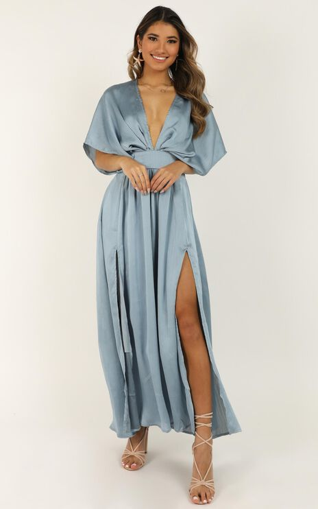 Save It For Later Dress In Dusty Blue Satin