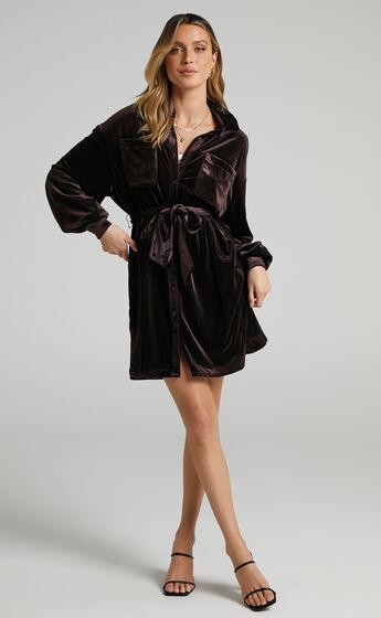 Devreux Button Up Collared Shirt Dress in Chocolate Velvet