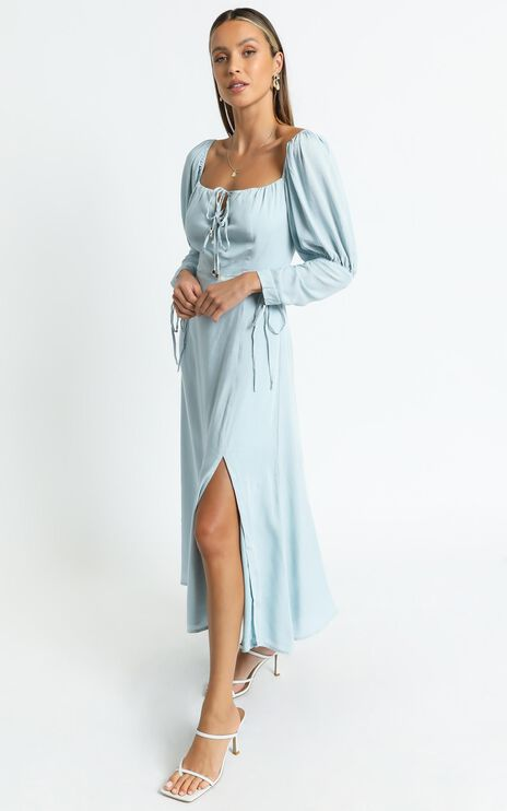 Ansel Dress in Blue Linen Look