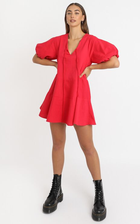 Krizza Mini Dress in Red Linen Look