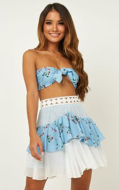 Tier Me Two Piece Set In Blue Floral