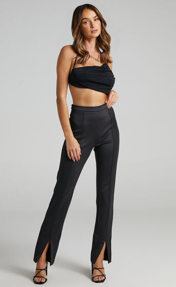 Shila Asymmetrical Tie Back Top in Black