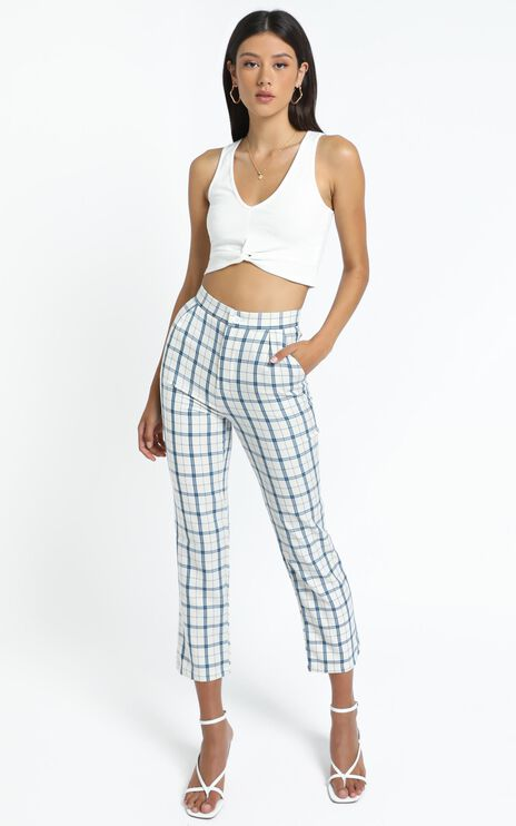 Ollie Pants in Light Blue Check