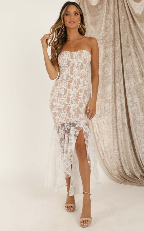 Weekend Vibes Dress In White Lace