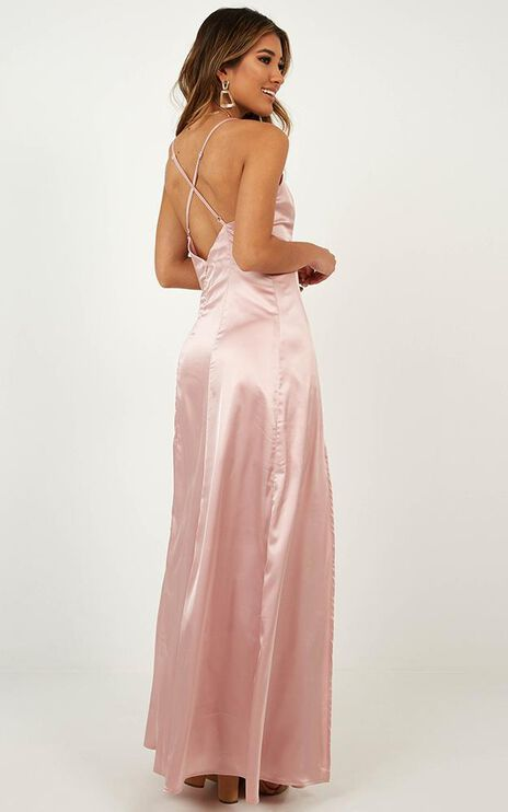 Back Tracking Dress In Blush Satin