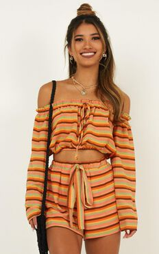 Dance All Day Two Piece Set In Orange Stripe