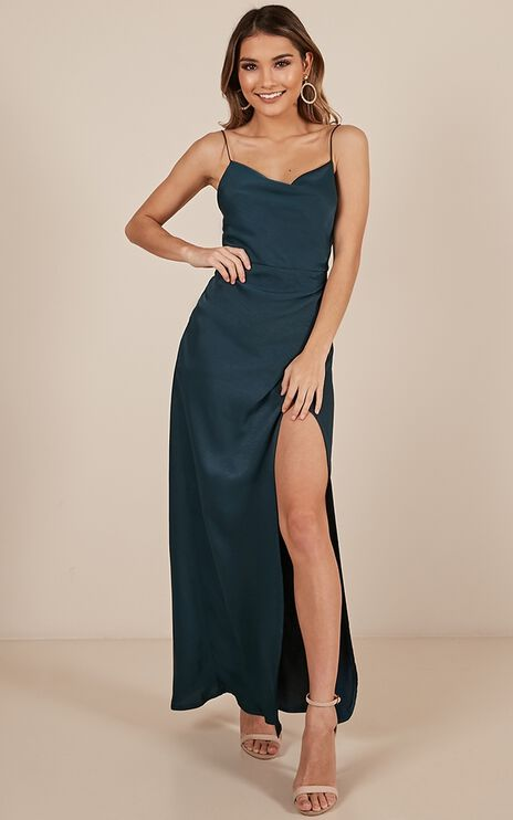 Seconds To Minutes Dress In Green Satin