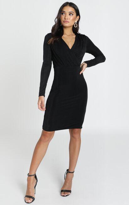 Sera Dress in black satin - 6 (XS), Black, hi-res image number null