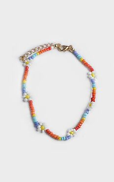 Emmarie Beaded Flower Anklet In Multi Colour
