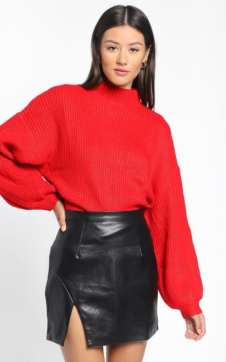 I Feel Love Oversized Knit Jumper in Red