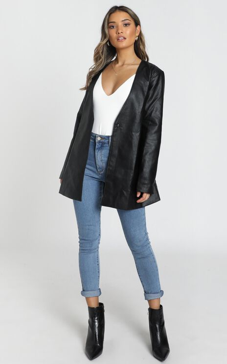 Sweeping The Path Jacket In Black Leatherette