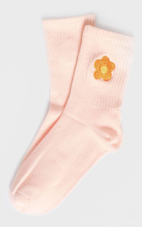 Fashion Footprint Flower Socks in Beige and Marigold