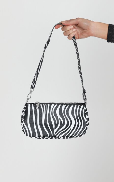 Fashion Edit Zebra Shoulder Bag in Black and White