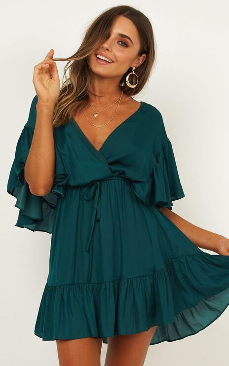 No Wasting Time Dress In Emerald