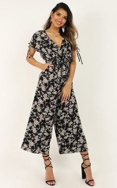 Calm In The Chaos Jumpsuit In Black Floral