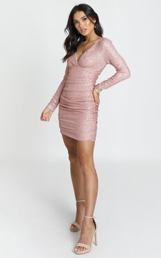 Lola Dress In Blush Sequin
