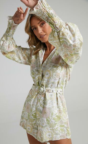 Charlie Holiday - Mellow Playsuit in Forest Olive Floral