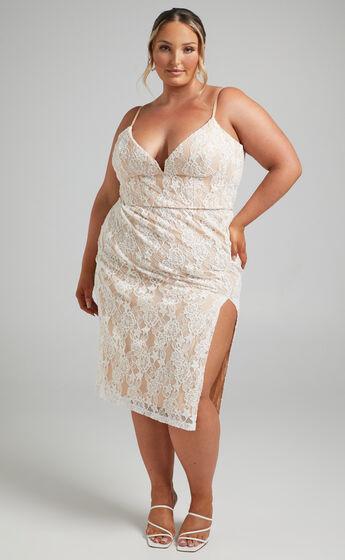 Reveka Tie Back V Neck Lace Midi Dress in White
