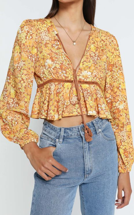 Gretchen Top in Rustic Floral