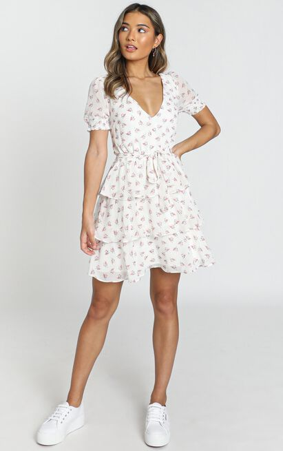 Keeping It The Same dress in white floral - 20 (XXXXL), White, hi-res image number null