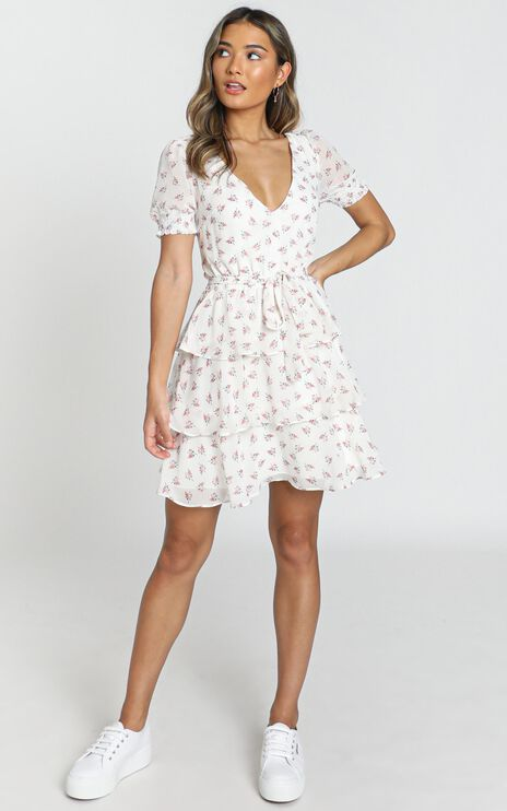 Keeping It The Same Dress In White Floral
