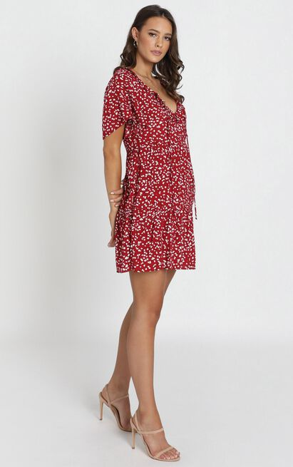 Kirby V-Neck Frill Mini Dress in red print - 6 (XS), Red, hi-res image number null