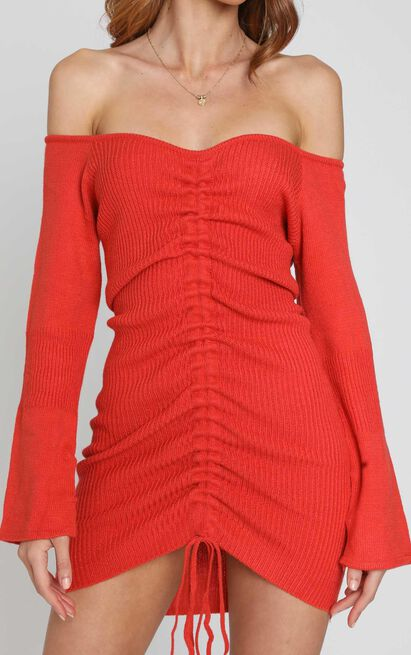 Susie Knit Dress in Rust - S, Rust, hi-res image number null