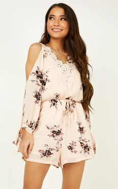 Love Always Playsuit In Blush Floral