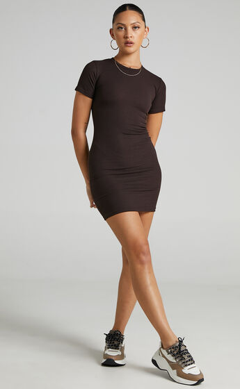 Sante Fe Bodycon Short Sleeve Dress in Chocolate