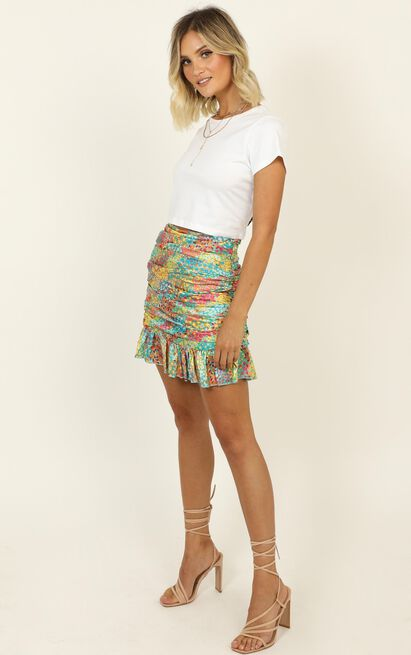 Draw A Wild Card skirt in multi floral - 20 (XXXXL), Pink, hi-res image number null