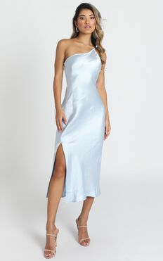 Enchanted With You Dress In Baby Blue Satin