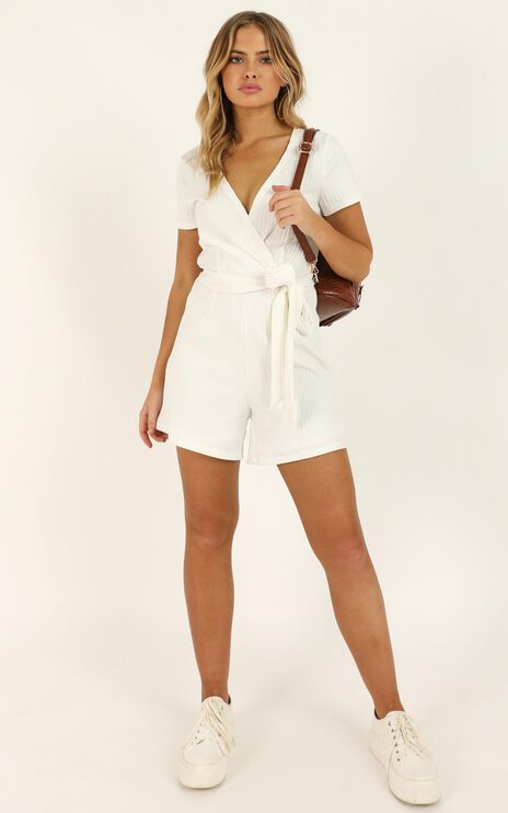 Star Gal Playsuit In White Rib