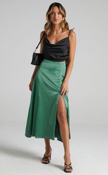 Rania Skirt in Jade Satin