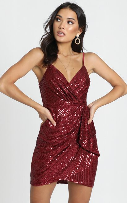 Katniss Dress in wine sequin - 12 (L), Wine, hi-res image number null