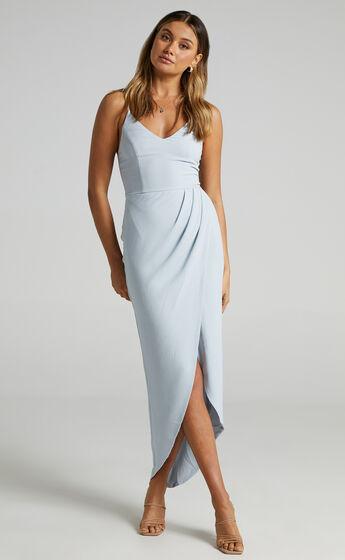 Lucky Day Drape Maxi Dress in Blue
