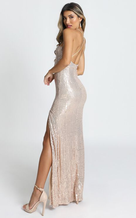 Sequin Glory Maxi Dress In Gold Sequin